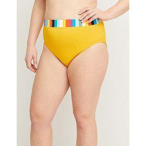 New Lane Bryant Yellow Ribbed Swim Brief 18